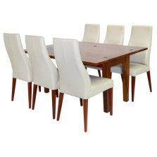 Naturally Timber 'Santa Fe' flip-top dining table - 6-seat, open with chairs view