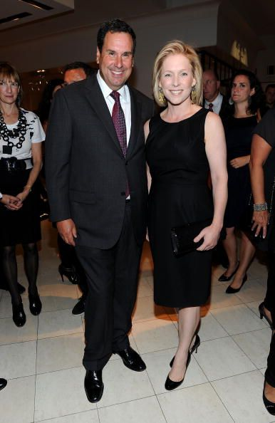 CEO of Saks Fifth Avenue Steve Sadove and Senator Kirsten Gillibrand attend the Saks Fifth Avenue celebration of Fashion's Night Out at Saks Fifth...