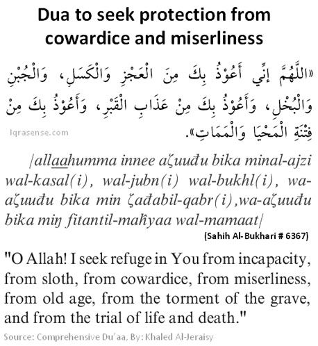 islam on Dua to seek protection from cowardice and miserliness