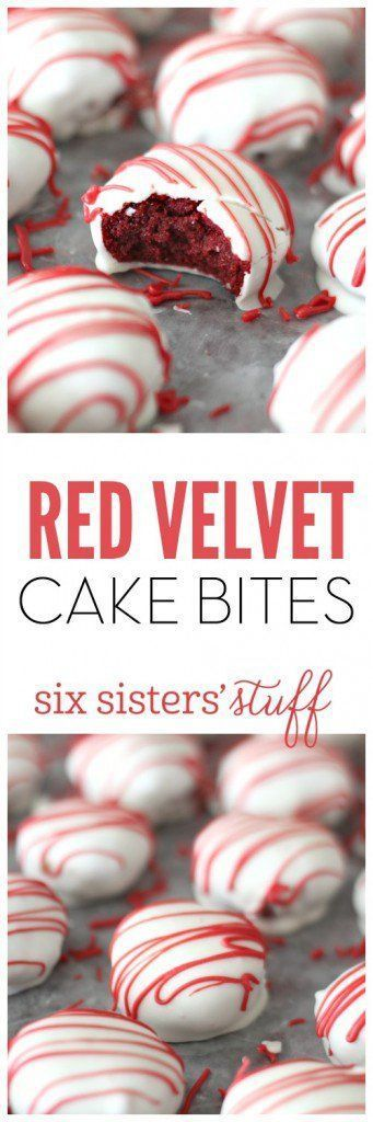 Red Velvet Cake Bites from SixSistersStuff.com   The perfect mix of cake and frosting, then dipped in chocolate. Pure heaven! This makes a huge batch so give some to your neighbors or friends as Valentine's day treats.