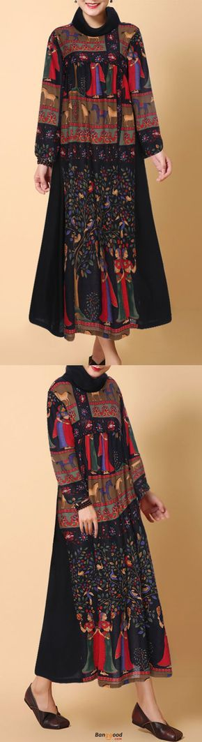 Gracila Ethnic Printed Turtleneck Long Sleeve Women Dresses. Floral printed, vintage style, turtleneck long dress, suitable for fall and winter. Get the look!