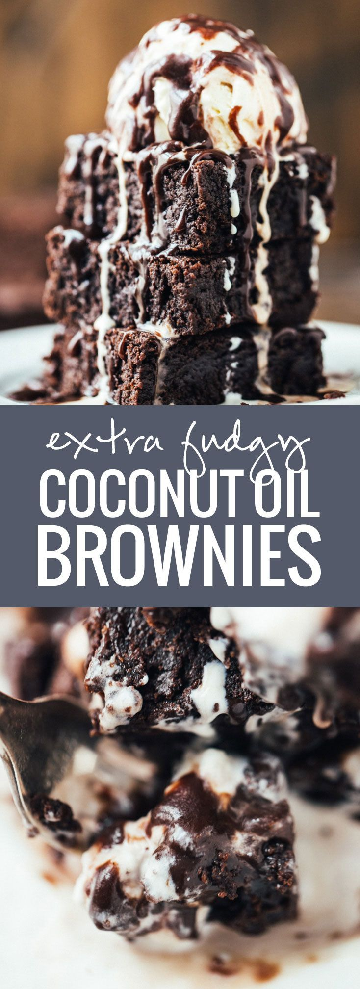 Extra Fudgy Coconut Oil Brownies - just a few simple high quality ingredients for the Most Fudgy brownies ever.