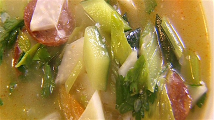 Hearty autumn vegetable soup with chorizo