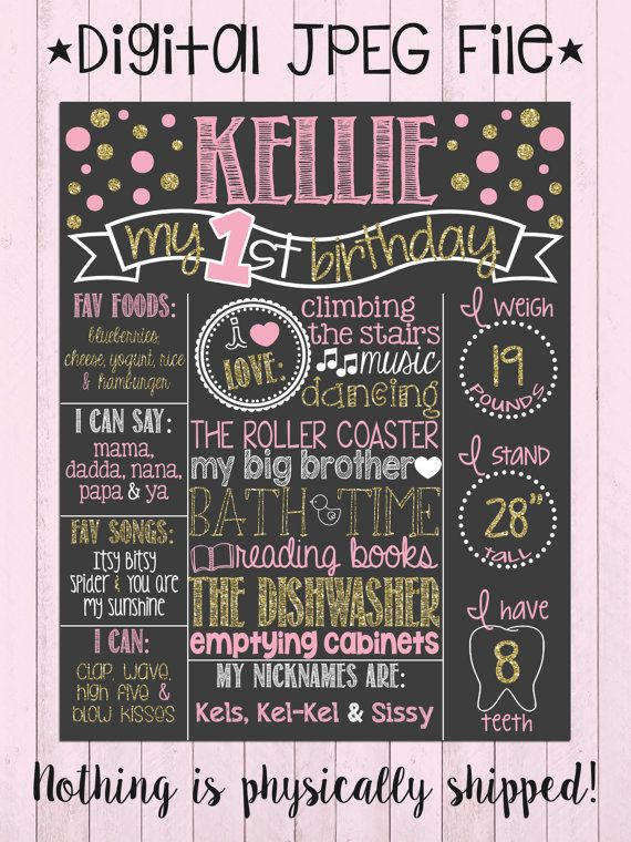 Pink and Gold Glitter First Birthday Chalkboard Poster Girl