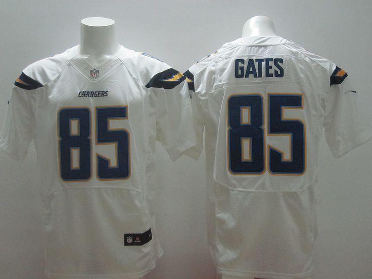 Men's NFL San Diego Chargers #85 Gates White Elite Jersey