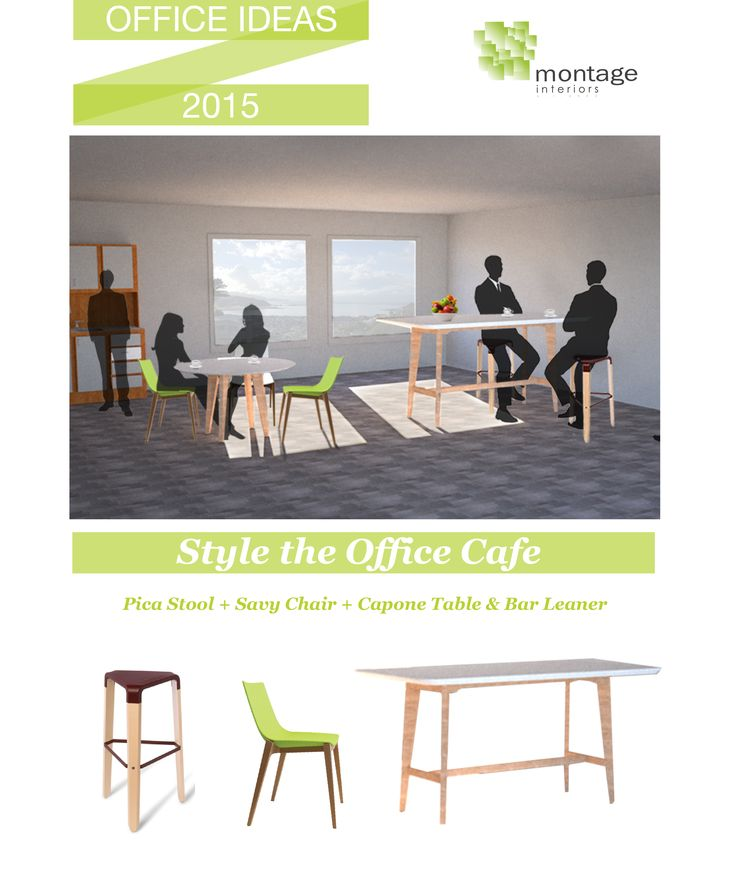 Easy ways to freshen up your office cafe. Our capone table comes in multiple sizes and shapes for bar leaner and table height. Our savy chair comes in a range of bright colours to liven up the room and goes great with the capone along with these cute Pica bar stools