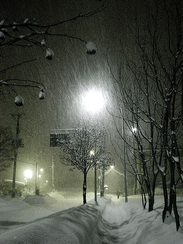 something about the feel of a lone night of snow in the city