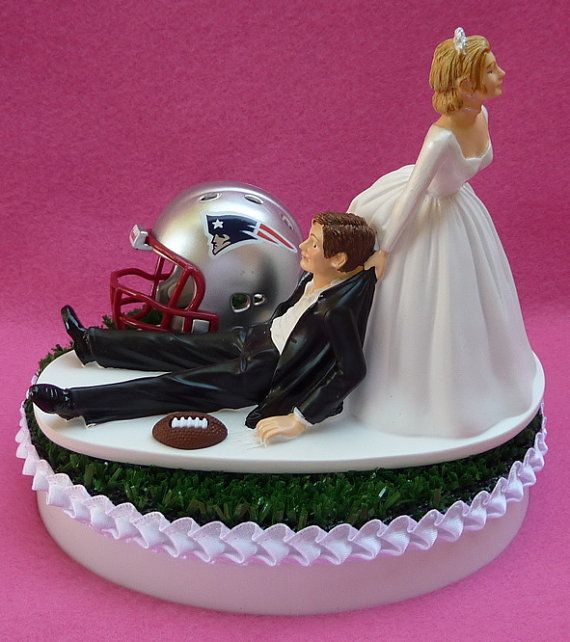 Wedding Cake Topper New England Patriots Pats Football Themed Sports Turf Topper w/ Garter, Display Box