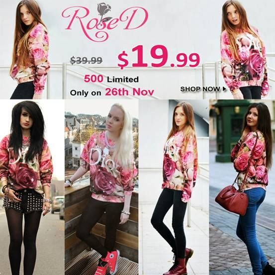 """Romwe """"Rose D"""" flash sale, only 24 hours! $19.99 only, with original price $39.99, on 26th November! 500 pieces, but size M is only 200 pieces! 4507 customers have already added """"Rose D"""" to their shopping bag. 24 hours only! Don't miss, girls!!! Go >> http://www.romwe.com/letters-roses-print-sweatshirt-p-75671.html And a special coupon for you, my lovely fans, on 26th Nov. to buy """"Rose D"""" : 10%offrosed"""