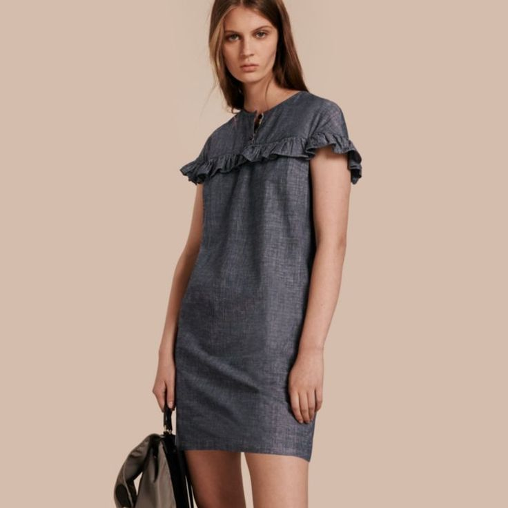 Ruffle Trim Cotton Chambray Shift Dress