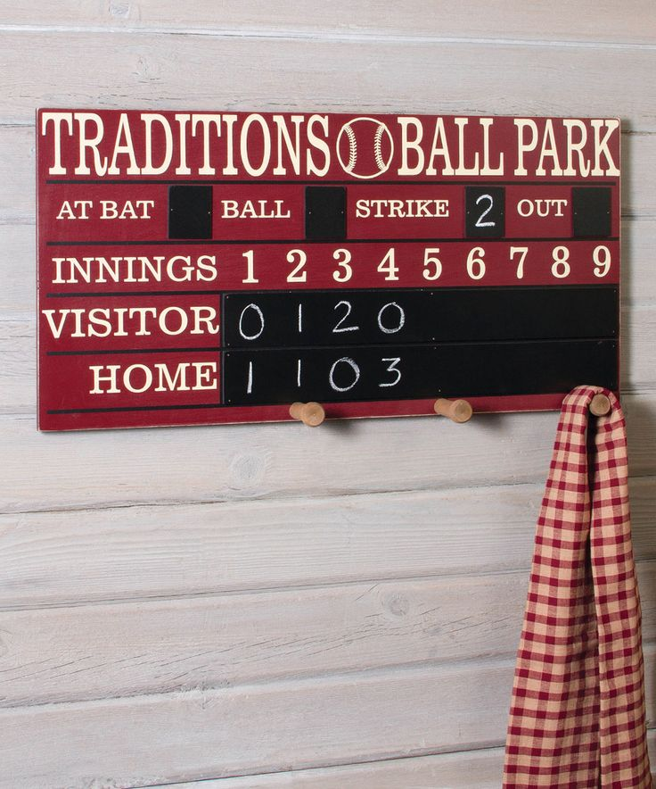 This Old School Baseball Scoreboard Features Chalkboard Entries And Handy Dandy Storage Pegs