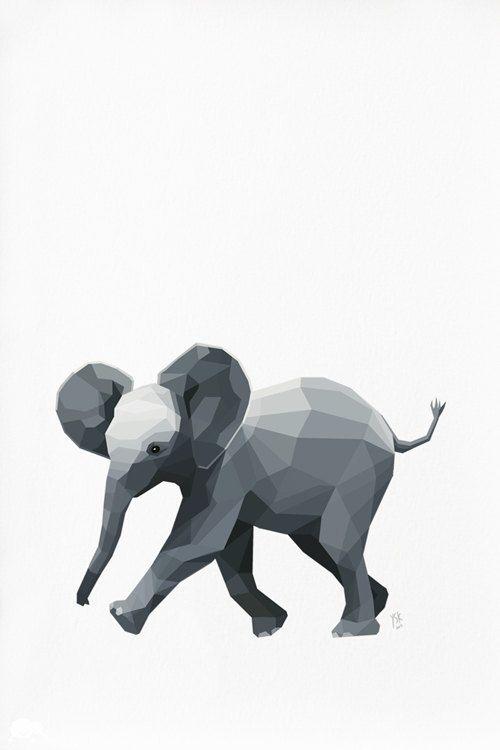 Geometric illustration, Elephant, Animal print, Original illustration