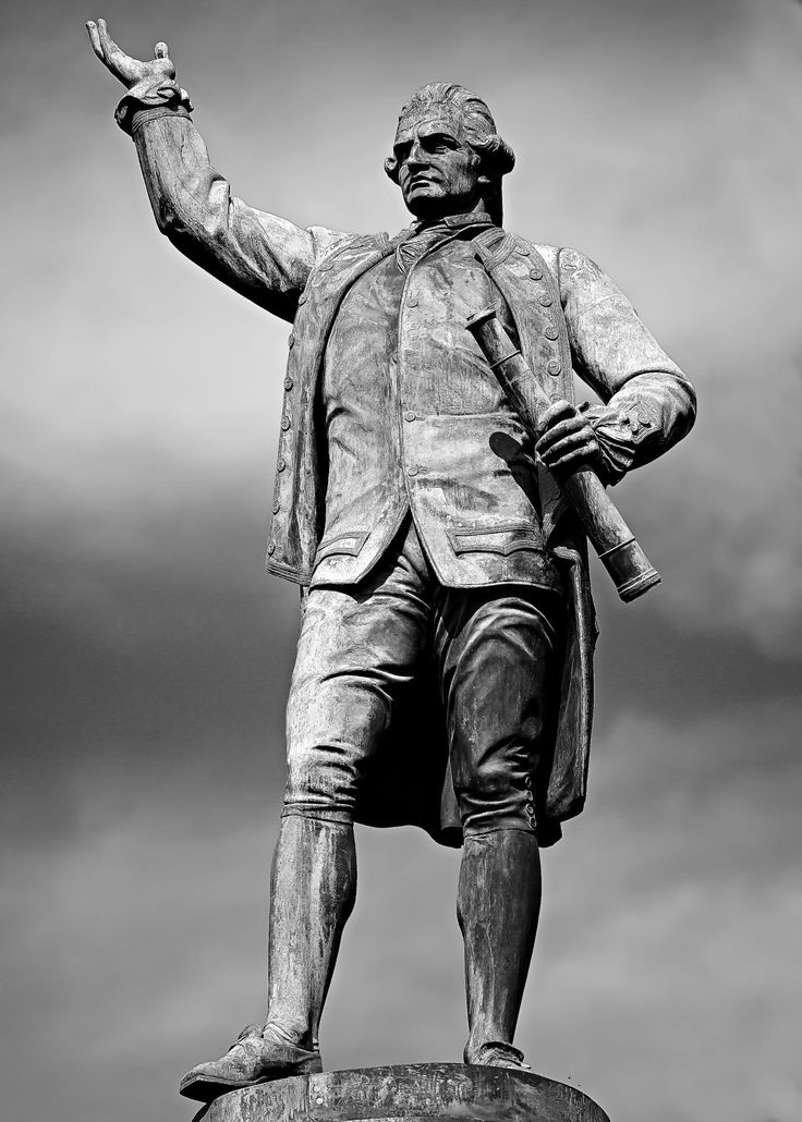 Statue of Captain James Cook stands looking toward the future in Hyde Park, Sydney, Australia