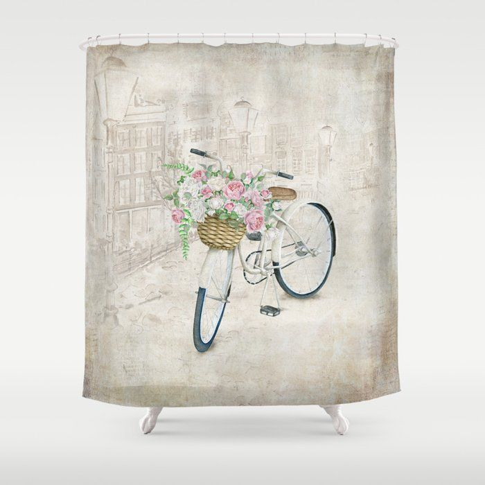 Vintage Bicycles With Roses Basket Shower Curtain By Simonegatterwe Cutegiftideas Gift Bik Colorful Prints Designer Shower Curtains Bathroom Shower Curtains