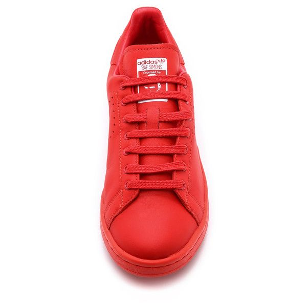 Adidas by Raf Simons Stan Smith Sneakers ($320) ❤ liked on Polyvore featuring shoes, sneakers, perforated leather shoes, perforated sneakers, adidas, genuine leather shoes and leather lace up shoes