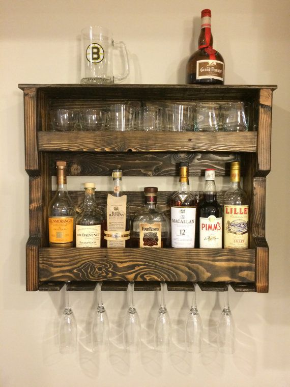Wood Wine and/or Liquor Shelf, Rack, Pallet Wood, Rustic, Reclaimed, Wall Shelf, Hanging