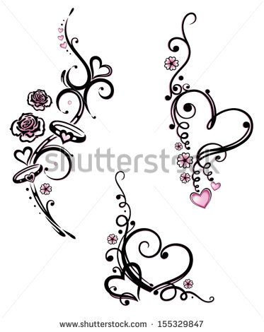 Colorful hearts with flowers, vector design elements.