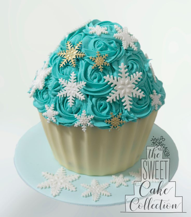 Winter Themed Giant Cupcake