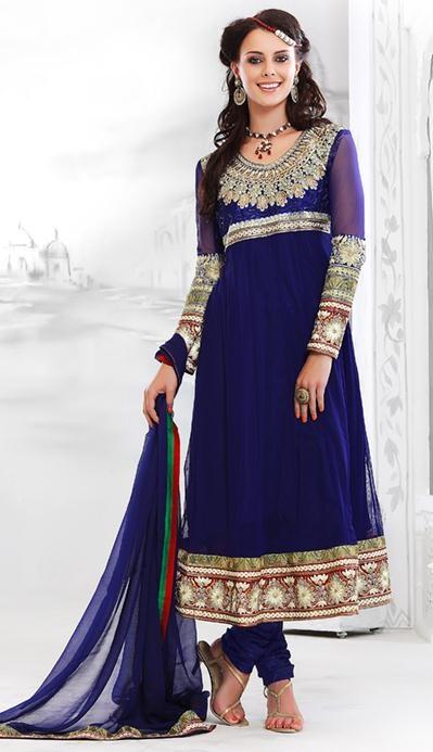 $95.24 Blue Net Embroidery Anarkali Salwar Suit 23973
