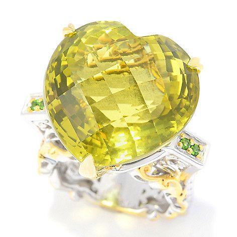 151-294 - Gems en Vogue 30.08ctw Ouro Verde & Chrome Diopside Heart Ring