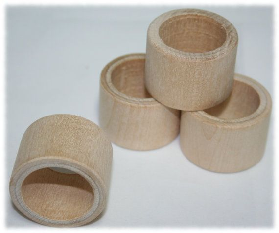 Smooth Wood Napkin Ring Holder Wedding Napkin Rings by HobKnobin