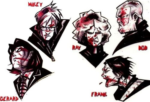 MCR as drawn by Gerard Way; published in Alternative Press' article, December, 2004. God, I'm in love with this. His art style is amazing.
