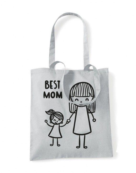 Shopper in cotone manici Lunghi mother day festa della mamma BEST MUM-06