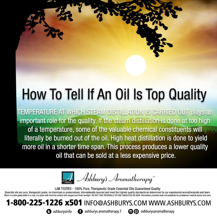 How To Tell If An Oil Is Top Quality? TEMPERATURE AT WHICH STEAM DISTILLATION IS CARRIED OUT plays an important role for the quality. If the steam distillation is done at too high of a temperature, some of the valuable chemical constituents will literally be burned out of the oil. High heat distillation is done to yield more oil in a shorter time span. This process produces a lower quality oil that can be sold at a less expensive price. #ashburysaromatherapy