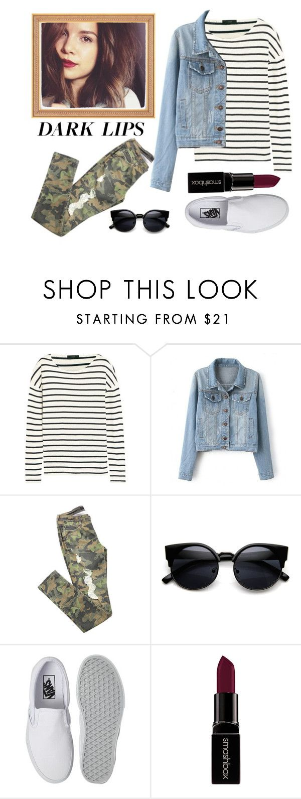 """""""lèvres sombres"""" by samwa147 ❤ liked on Polyvore featuring beauty, J.Crew, Vans and Smashbox"""