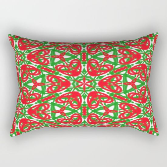 Red, Green and White throw pillow by Khoncepts