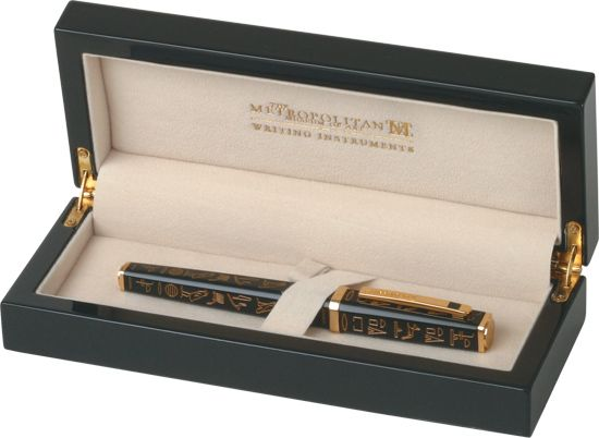 Metropolitan Museum Art Collection Egyptian Hieroglyphic Black W Gold Fountain Pen