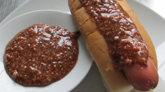 If you're hankering for this regional hot dog favorite, slather some of this famous hot dog sauce over your favorite boiled hot dog in a steamed bun and serve with brown mustard and diced onions.