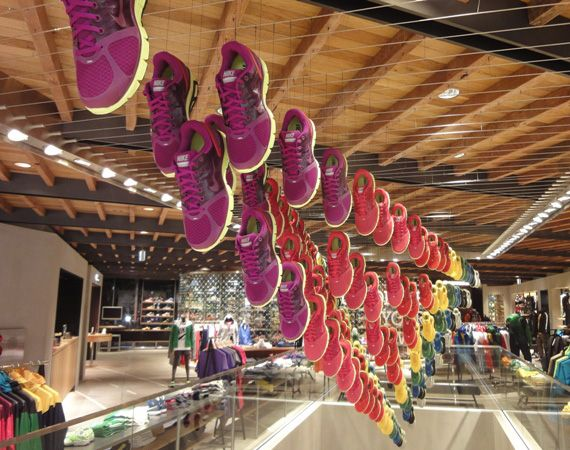 "Nike ""Chandelier Display"". #hanging #retail #merchandising #visualmerchandising"