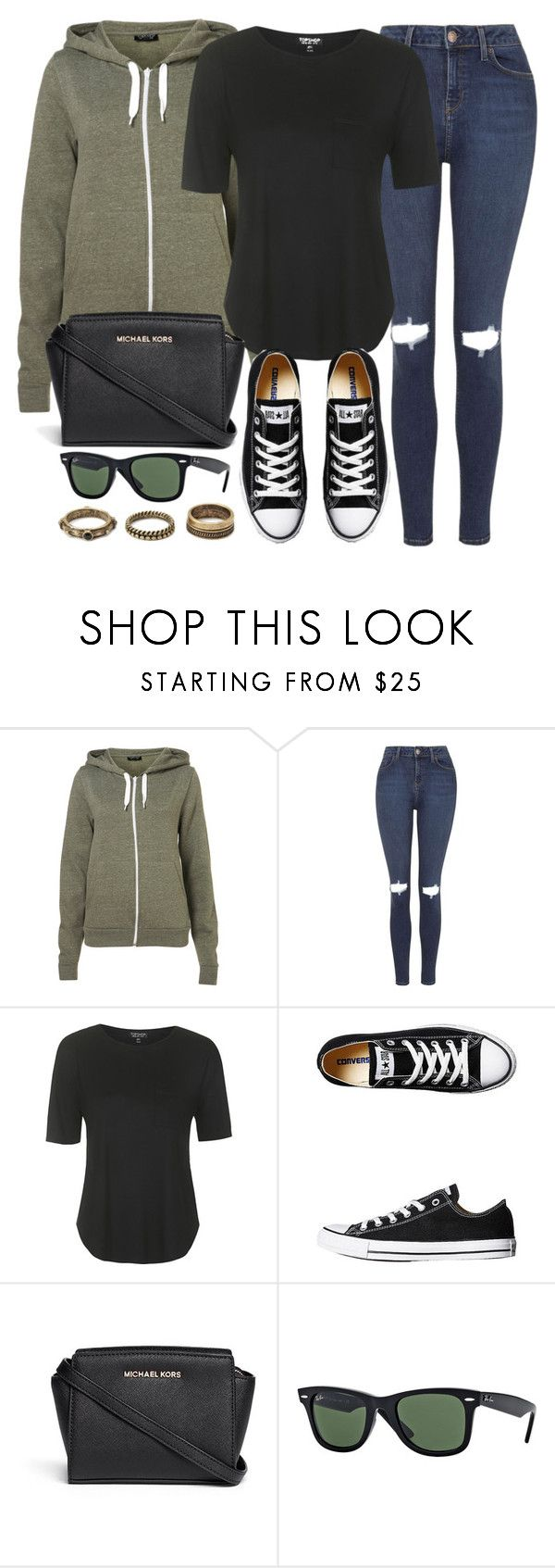 """""""Style #9358"""" by vany-alvarado ❤ liked on Polyvore featuring Topshop, Converse, MICHAEL Michael Kors, Ray-Ban and Forever 21"""