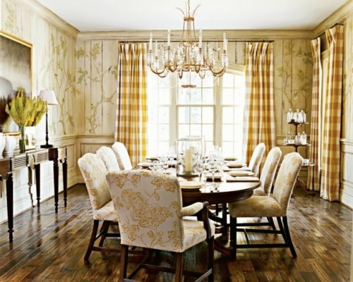 Traditional Dining Room with Hard Wood Floors, French Doors and High Ceilings