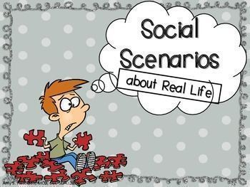 Social Scenarios for Middle School about Real Life! 45 task cards/answer cards with answer key and vocabulary cards!