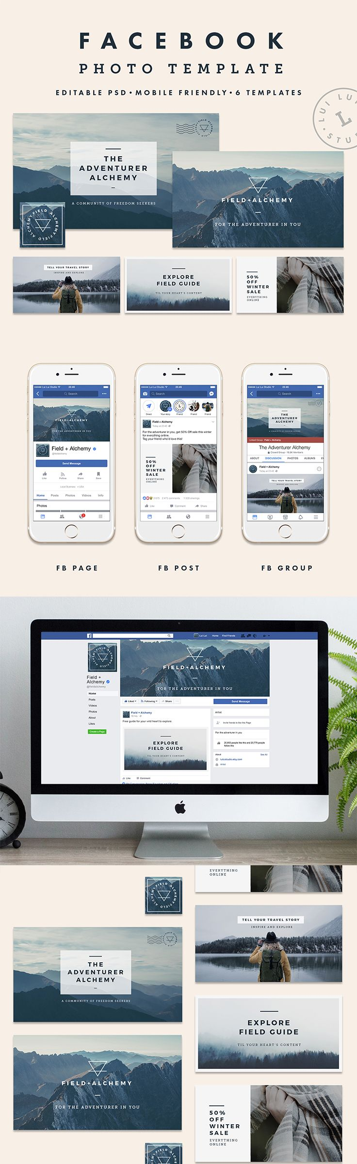 Minimalist Facebook Cover Photo Template from the Field+Alchemy Collection. Stand out and increase engagement with a new stunning brand! | Lui Lui Studio