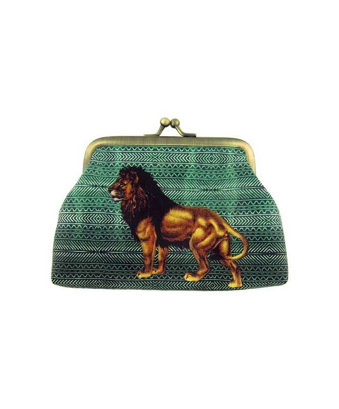 Made with SGS tested toxic-free faux/vegan leather, this vintage style kiss lock frame faux/vegan leather coin purse features lovely lion on ikat style print by Mlavi Studio. Wholesale available at http://mlavi.com/mlavi-animal-themed-vegan-bag-wallet-and-accessories-wholesale.html