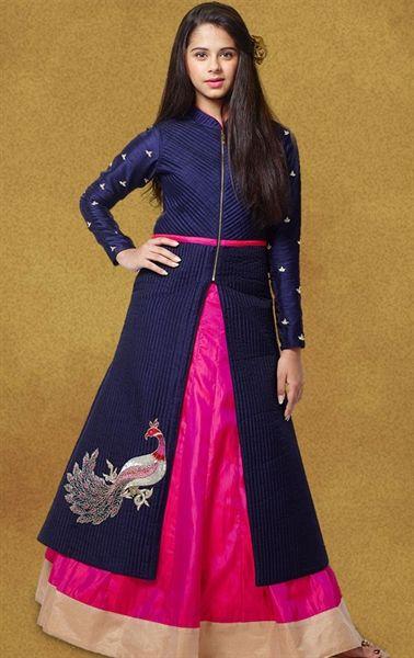 Picture of Fascinating Pink and Blue Kids Designer Lehenga Kameez