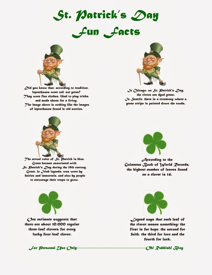 :: St. Patrick Day Trivia Facts :: Lunch Box Notes :: Saint Patrick Day Fun Facts :: Printable :: - oh! rubbish! blog
