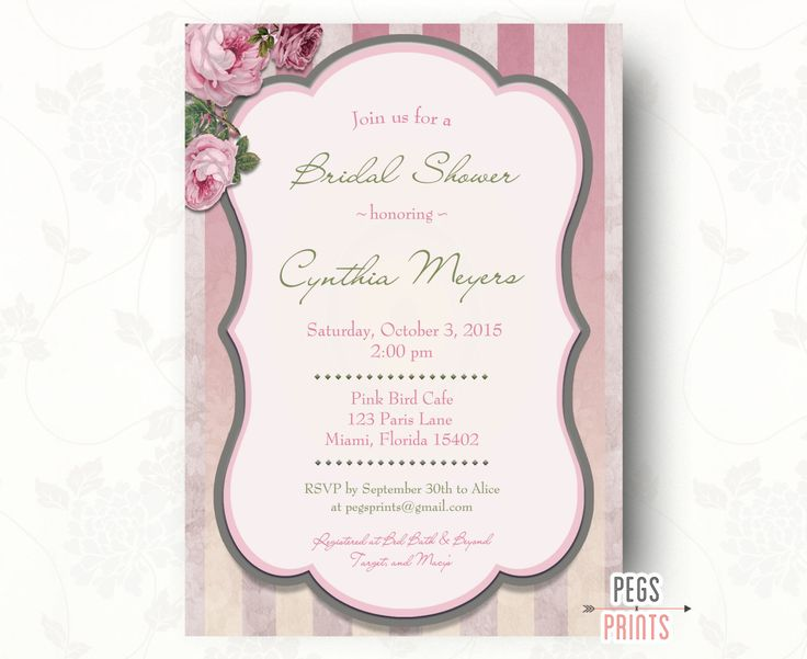 Cottage Chic Bridal Shower Invitation (Printable) Shabby Chic Bridal Shower Invitations - Floral Bridal Shower Invites - Rose Bridal Shower by PegsPrints on Etsy