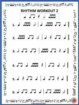 music Lessons  |   FREE DOWNLOAD! Two #rhythm workout pages! #musiceducation #musiced