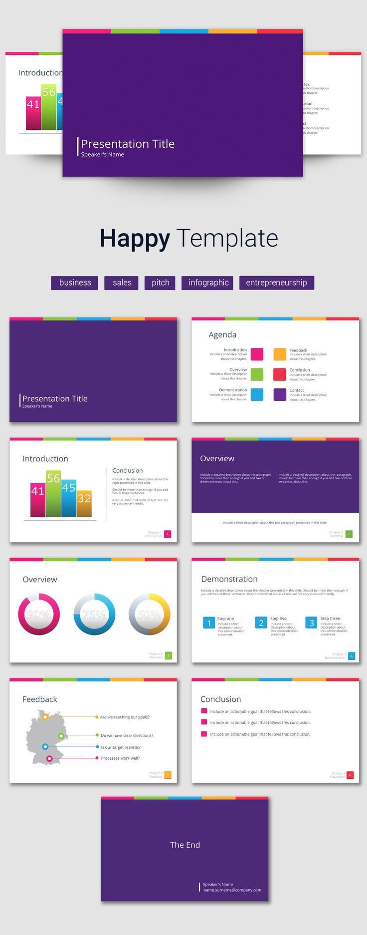 Put together your information and build reports fast using this simple, happy template PowerPoint alternative presentation template