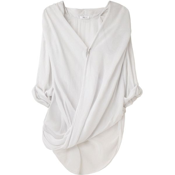Love that sexy slouchy look of Helmut Lang Overlap Shirt paired with a beautiful pencil skirt