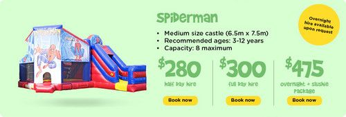 Spiderman : Ben 10 - Funky Castles, Servicing Brisbane's North side with children's jumping castles, slushie machines, party lights, smoke machines, and various other party hire needs.  http://funkycastles.com.au/our-products/spiderman/ | emilybrooker24