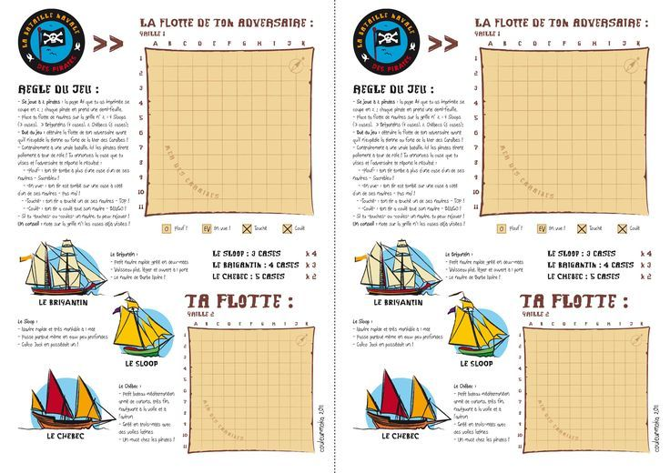jeu La bataille navale des pirates à imprimer