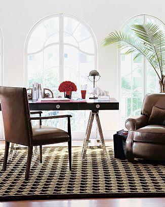 william sonoma houdstooth rug wool carpet floor brown chocolate ivory cream off white check preppy