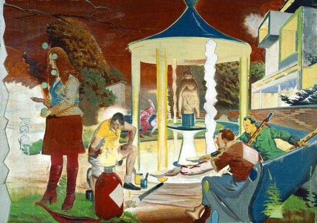 Neo Rauch (German b. 1960) [New Leipzig School] Revolte (Revolt), 2004. Oil on paper, 200 x 281 cm. Der Nachste Zug.