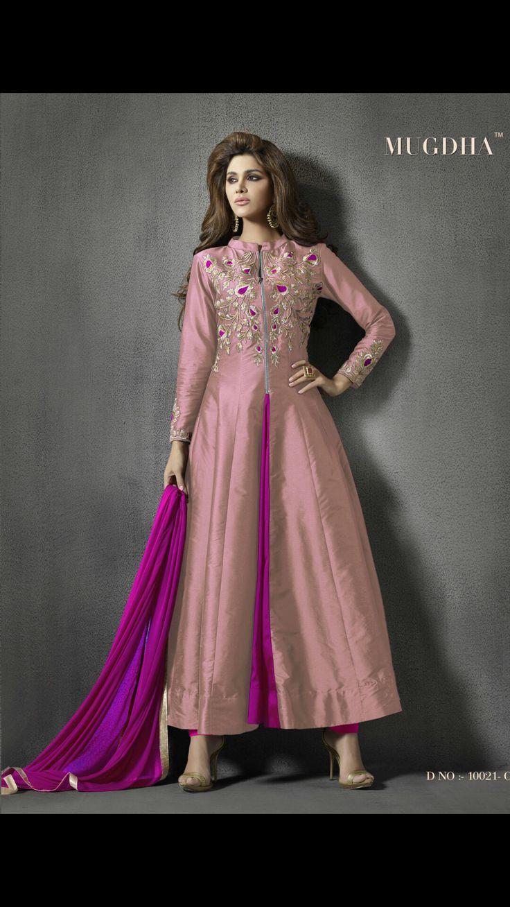 Silk peach long dress