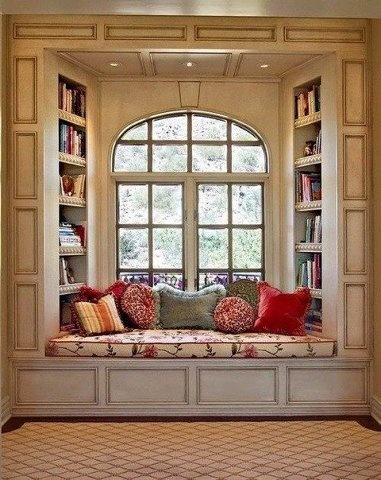 A window seat with books seems ideal.